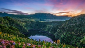 Azores Flower Lake Mountain Portugal Sunset 2560x1920 wallpaper