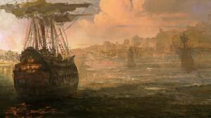 Artwork Digital Art Ship City 2400x1278 Wallpaper