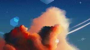 Clouds Sunset Grass Landscape Hexagon Cube Floating 3000x3000 Wallpaper