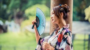 Asian Brunette Depth Of Field Fan Girl Kimono Model Woman 3840x2561 Wallpaper