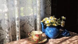Cup Curtain Daisy Flower Saucer Still Life Teapot White Flower 2048x1365 Wallpaper