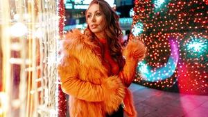 Bokeh Brunette Coat Girl Model Night Woman 2048x1261 Wallpaper