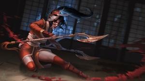 Akali League Of Legends Woman Warrior Oriental Black Hair Mask Weapon Red Eyes 2048x1125 Wallpaper