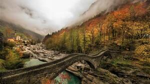 Bridge Foliage Forest Mountain River Valley Village 2000x1333 Wallpaper