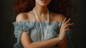 Women Nastya Polukhina Redhead Long Hair Curly Hair Freckles Looking At Viewer Blue Eyes Jewelry Ear 1619x2024 Wallpaper