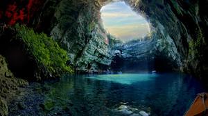 Blue Cave Cliff Greece Melissani Cave Nature Sunlight 3872x2592 Wallpaper