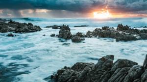 Rock Sunset Wave 1920x1080 Wallpaper