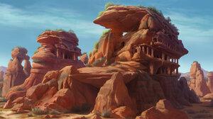 Yeonji Rhee Artwork ArtStation Village Fantasy Art Rock Landscape 1920x940 Wallpaper