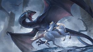 Sandara Drawing Dragon Fantasy Art Fighting Horse Animals Magician Men Staff Gallop Teeth Tongue Out 1800x903 Wallpaper