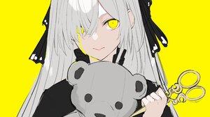 Anime Anime Girls Original Characters Artwork White Hair Yellow Eyes Scissors Teddy Bears Tears 4096x2782 Wallpaper