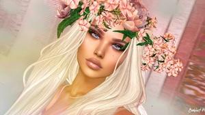 Woman Face White Hair 2048x1080 Wallpaper