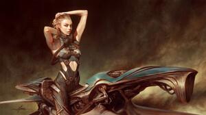 Christophe Young Armpits ArtStation Digital Art Blond Hair Green Eyes Women Women With Bikes Motorcy 3840x1920 Wallpaper