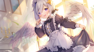 Anime Anime Girls Hololive Virtual Youtuber Amane Kanata Wings Silver Hair Purple Eyes Maid Outfit 3700x2650 Wallpaper