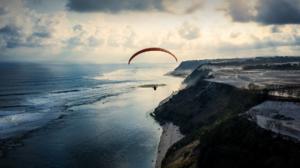 Beach Coast Horizon Ocean Paragliding 1920x1080 Wallpaper