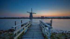 Canal Netherlands Kinderdijk Pier 2048x1365 wallpaper