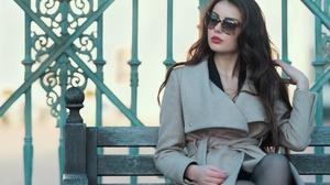 Woman Girl Brunette Long Hair Coat Sunglasses Lipstick 2999x2000 Wallpaper