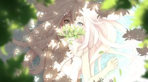 Anime Anime Girls White Hair Blonde Blue Eyes Gray Eyes In Water Petals Trees Long Hair Heterochromi 4020x2600 Wallpaper