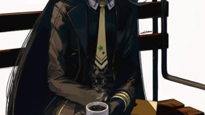 Uma Musume Pretty Derby Black Clothing Coffee Cup Bicolored Hair Black Legwear Looking At Viewer Smi 974x1865 Wallpaper