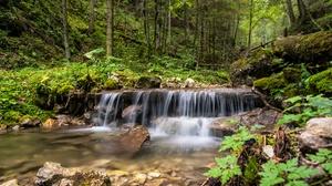 Forest Moss Nature Slovakia Stone Waterfall 5120x3418 Wallpaper