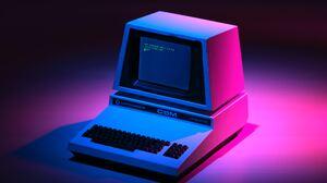 Pink Retrowave Computer Vintage Code Blue 6048x4032 Wallpaper