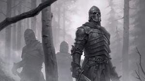 Artwork Fantasy Art Knight Armor Sword Monochrome 3840x2345 Wallpaper