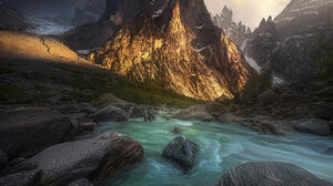 Marc Adamus Landscape Mountains Peak Water Sky Overcast Sunlight Nature Stones 1331x1800 Wallpaper