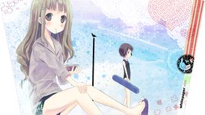 Anime Artwork Art Installation Illustration Anime Girls Pudding School Swimsuit Brunette Long Hair S 2868x1814 Wallpaper