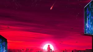 Japan Eastern Sunset Lights Shooting Stars Birds City 1920x2560 Wallpaper