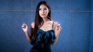 Asian Model Women Long Hair Dark Hair Blue Dress Wall 3840x2559 Wallpaper