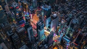 City Manhattan Times Square Aerial Night Light Usa Skyscraper 1920x1200 Wallpaper