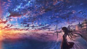 City Girl Horizon Ocean Starry Sky Sunset 2000x1300 Wallpaper