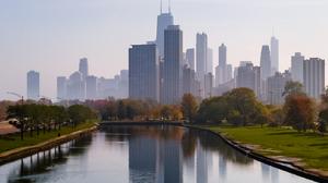 Chicago City Calm Minimalism Peaceful Skyline 1392x1302 wallpaper