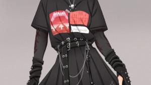 Shingeki No Kyojin Goths Black Clothing Black Nails Striped Stockings Piercing Nose Ring Dark Hair B 2450x3542 Wallpaper