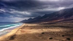 Beach Cloud Coast Rock Sea Spain 5704x3012 Wallpaper