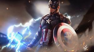 Captain America Shield Marvel Comics Marvel Cinematic Universe The Avengers Mjolnir 1920x1080 Wallpaper