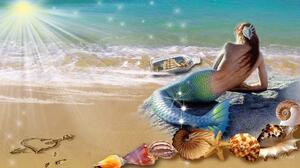Beach Fantasy Heart Mermaid Sand Shell 1920x1080 Wallpaper