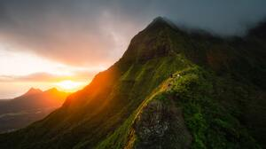 Hawaii Mountains Hiking Sunrise Mist People Clouds Nature 4500x3000 Wallpaper