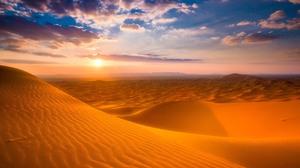 Desert Landscape Dunes Sky Clouds Nature Hills 5120x2880 Wallpaper