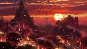 Daniele Montella Digital Art Burning City Fire Sunset 1920x1145 Wallpaper