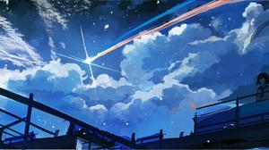 Moescape Shooting Stars Sailor Uniform Night Axle Artwork 8000x3000 Wallpaper