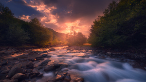 Stream Water Sunset Clouds Trees Nature Outdoors Rocks Photography Sozel 1942x1300 Wallpaper
