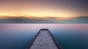 Sea Pier Outdoors Water Sky Nature Crescent Moon Moonlight Calm Horizon Calm Waters 1920x1570 Wallpaper