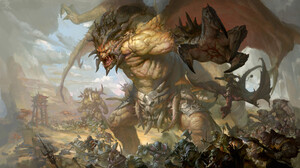 Battle Creature Horns Orc Warrior Wings 1920x1080 Wallpaper