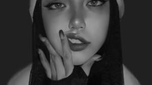 Tim Liu Looking At Viewer Dark Background Portrait Smoky Eyes Women Drawing Portrait Display Long Na 1709x2586 Wallpaper