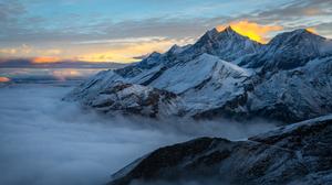 Alps Fog Landscape Sky Summit Switzerland 5683x3794 Wallpaper