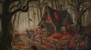 Fantasy Artistic House Haunted House Forest Halloween Fence 1639x1229 Wallpaper