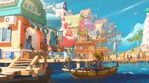 Artwork Fantasy Art ArtStation Marby Kwong Village Boat Vehicle Birds Colorful 2328x1040 Wallpaper