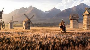 Men Ultrawide Knight Horse Jack Usephot Mountains Digital Art 3440x1440 Wallpaper
