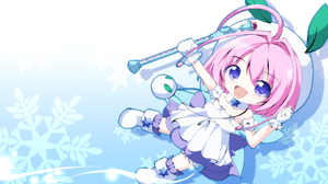 Blue Clothing Gloves Boots Happy Pink Hair Short Hair Purple Eyes Chibi Looking At Viewer Snow Flake 1980x1080 Wallpaper