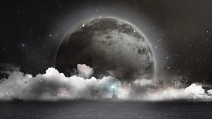 Airplane City Cloud Lighthouse Moon Planet Sea 2560x1440 wallpaper